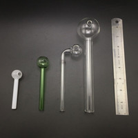 Wholesale smoking pipe glass ball - Pyrex Oil Burner Pipe Glass Oil Burner 7.3inch Big Tobacco Hand Pipes Glass Ball Balancer Water Pipe Oil Smoking Pipes