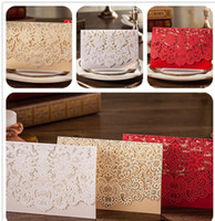 Wholesale Birthday Christmas Cards - Hot selling Wholesale Personalized Wedding Invitation Cards, thank you cards white red color invitation wed cards with modern designs