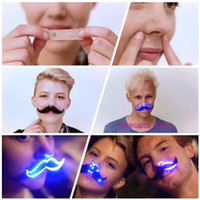 Wholesale Mustache Props - 100pcs free DHL Christmas LED beard Glowing Beard Mustache 8 Modes Luminous Halloween Cosplay beard Prop Fake Bread Creative