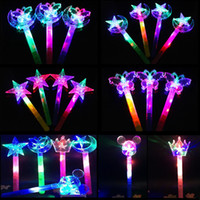 Wholesale Light Crowns - Kids LED Light Sticks Gifts Children's toys luminous magic fairy wand Colorful Starlight Magic Bar wholesale Princess crown flash stick 1499
