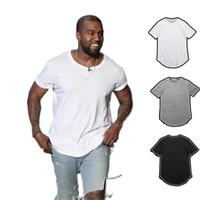 hip hop longo dos homens camisetas venda por atacado-Camisa de T dos homens Kanye West Estendido T-Shirt Dos Homens de roupas Curvo Hem Longa linha Tops Tees Hip Hop Urbano Em Branco Justin Bieber Camisas TX135-R3