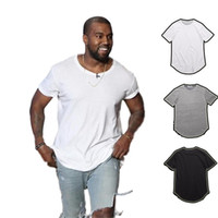 Wholesale Polyester Long Sleeve Shirts - men's T Shirt Kanye West Extended T-Shirt Men's clothing Curved Hem Long line Tops Tees Hip Hop Urban Blank Justin Bieber Shirts TX135-R3