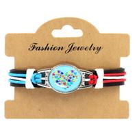 Wholesale Wholesale Autism Awareness Charm Bracelets - Faith Hope Love Autism Awareness Ribbon Puzzle Paracord Survival Friendship Womens Girls Ladies Bracelets