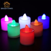 Vente en gros - 2PCS Romantique Colorful Tealight Candles Batterie à LED LED Flicker Flameless Candle Light pour la fête de mariage Décoration de vacances