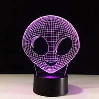 Wholesale Aliens Drop Ship - 2017 Alien 3D Optical Illusion Lamp Night Light DC 5V USB Charging AA Battery Wholesale Dropshipping Free Shipping