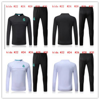 Wholesale Hot Kid S - HOT 2017 2018 Real Madrid kids training suit Soccer Jersey Maillot de foot chandal survetement 17 18 RONALDO yonth tracksuit training shirt