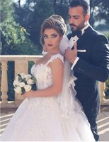 Wholesale Beaded Backless Ball Bridal Gown - New Fashion Dubai Lace Wedding dresses Ball Gown Spaghetti Backless Wedding Gowns Beaded Bridal Gowns With Appliques Vestidos De Noiva 2017