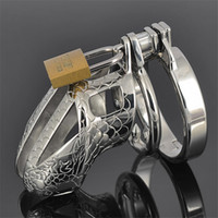 Wholesale Dragon Penis Sleeve - Wholesale- RainJack Dragon Totem Chastity Belt With Anti-off Ring 65mm Stainless Steel Male Chastity Device Penis Sleeve Sex Toys Metal