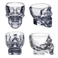 Wholesale Doomed Shot Glass - Doomed Crystal Skull Cup Skull Head Vodka Whiskey Shot Glass Pirate Vaccum Glasses Beer Mug Drinking Ware 80ml 2.5ounces Free DHL Factory