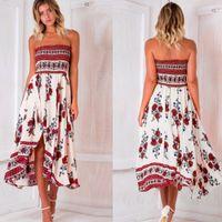 Wholesale Women Wholesale Slit Skirt - Womens Holiday Dress Summer Strapless Casual Maxi Dress Flower Printed Chiffon Ethnic Style Stripe Irregular Slit Skirt