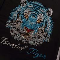 Wholesale Tiger Fabric Wholesale - fashion tiger Rhinesto clothing shinny collar Rhinestone Iron on heat Transfer Hot fix Motif crystal rhinestone transfer in sewing fabric..