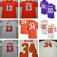 Clemson Tigers 13 Hunter Renfrow 5 Tee Higgins 8 Deon Caïn 34 Ray-Ray McCloud Purple Blanc Orange cousu Collège FootBall Maillots S-3XL