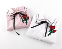 Wholesale Lace Rose Blouse - Girls shirt kids lace-up bows double laple blouses girls rose flowers embroidery falbala sleeve princess tops kids autumn clothing T4538