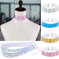 Wholesale Leather Slave Collar Chain - Multilayer Reflections Laser Rainbow Leather Choker Necklace Collars Torques with extend Chain for Women Fashion Slave Jewelry Gift