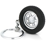 Wholesale Tire Key Chains - 10pcs Lot Tire Keychain Creative Auto Parts Model Spinning Rubber Wheel Tyre Key Chain Ring Keyring Keyfob 86023