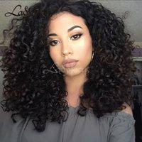 malezya saç perukları işlenmemiş toptan satış-Malezya Kıvırcık Tutkalsız Tam Dantel İnsan Saç Peruk Bebek Saçlı İşlenmemiş Virgin Saç Dantel Ön Peruk Siyah Kadınlar Için