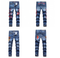 Wholesale Skull Jeans Men - free shipping 2017.3.7 001new sexy fashion men high quality skull casual ripped jeans size 28-36