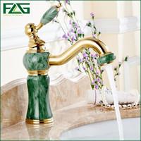 Wholesale Unique Bathroom Sinks - Unique Design Basin Faucet Deck Mounted Golden Classic Bathroom Faucet Jade Painting Long Spout Bathroom Sink Faucet FLG100026