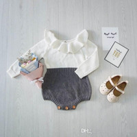 Wholesale Girls Bodysuits - Retail Spring Autumn New Baby Girl Bodysuits onesies Peterpan Collar Knitted Cotton Long Sleeve Princess Jumpsuit Kids Clothing 1809