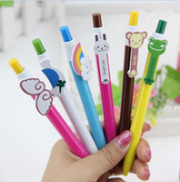 Wholesale novelty office stationery - 6 Designs Cute Cartoon Kawaii Novelty Ballpoint Pens Lovely Cat Bird Ball Pen Korean Stationery G649