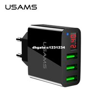 Wholesale I Ipad - dhgate 3 Port USB Phone Charger LED Display EU US Plug The Max 2.4A Smart Fast Charging Mobile Wall Charger for i phone iPad