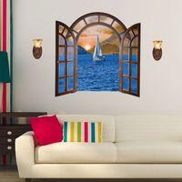 Wholesale 3d window art for wall for sale - SK9062A European Style D Fake Window Wall Sticker Paris Eiffel Tower Landscape Room Mural Art Wallpaper