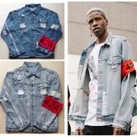Wholesale Breast Clamps - Wholesale- Hot 2016 New red dot clamp four four 424 distressed EXO ripped light blue hole streetwear urban denim jacket clothes kanye