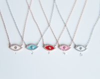 Wholesale hamsa eye necklace - promation 2017 Full CZ Solid 925 Sterling Silver Evil Eye Hamsa White\red\pink enamel Women Pendant Necklace diy making for women gift