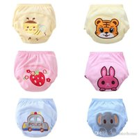 Wholesale Cute Training Pants - Toilet Pee Potty Training Pants Baby Embroidered 3 Layers Cotton Cloth Diapers Infant Cute Elephant Tiger Rabbit Strawberry Underwear H224