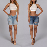 Wholesale Jean Hot Pant Women - Wholesale- 2 Colors S-XL New 2017 Hot Fashion Females Short Pants Stretch Women Vintage Ripped Skinny Jean Hole Jeans For womens TX239