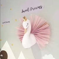 Wholesale Crowns For Decor - Cute Swan Wall Art Stuffed Animal Toys Kids Girls Swan Dolls with Crown Animal Head Wall Hanging Mount 3d Wall Decor for Children Room Gifts