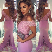 Wholesale Off Shoulder Lavender Beaded Lace Mermaid Bridesmaids Dresses Sexy Draped Satin Backless Wedding Guest Party Dress Maid of Honor Gowns