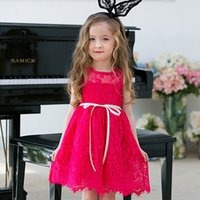 Wholesale Girls Summer Dress Belt - New Arrival Baby Girls Ruffles Lace Embroidered Flower Ruffles Sleeveless Dress With Belt Cute Girls Summer Dress