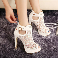 Wholesale Lace Up Buckle Strap Boots - 2017 New Sexy Lace Hollow Out Peep Toe Ankle Boots Buckle Metal Heels Breathable Chic Wedding Shoes