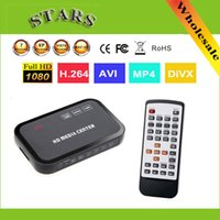 Wholesale Av Hdd Player - Wholesale- 1080P full HD media video player Center with HDMI VGA AV USB SD MMC Port with Remote Control