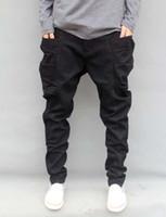 Wholesale Stripe Pocket Jeans - Wholesale-Autumn Winter Trousers Big Size S-6XL 7XL=46 New Fashion Casual Jeans Mens Joggers Loose Denim Pants Pockets Hip Hop Harem Black