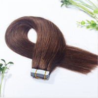 "Wholesale Tape Hair Extensions Wholesale Cheap - Cheap human hair extensions 40g 100g pack 18""-28"" brazilian virgin remy tape hair #4 medium brown"