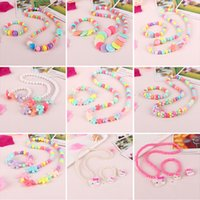 Wholesale Butterfly Bracelet For Girls - 24 Styles Kawaii Kids Necklace Bracelet Set For Sale Candy Colorful Bead Necklace for Girl Butterfly Star Bow Tie Flower Choker