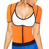 Wholesale Yellow Body Suit - Wholesale- 2017 new orange XS - 6XL plus size women sweat enhancing waist corset waist trainer sauna suit sexy vest hot shaper body E85O