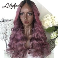 Wholesale Black Violet Hair - Lady Focus Full Lace Wigs With Baby Hair Violet Color Human Hair Wigs Ombre Body Wave Lace Front Wig For Black Women
