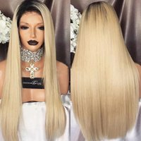 Wholesale long platinum lace front wig for sale - Group buy Ombre b Full Lace Human Hair Wigs Silky Straight Platinum Blonde Lace Front Wigs In Stock