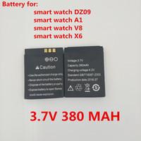 ersatz für lithium-ionen-batterien großhandel-Ursprüngliche wieder aufladbare Li-Ionbatterie 3.7V 380MAH intelligente Uhr-Batterie-Ersatzbatterie für intelligente Uhr dz09 A1 V8 X6
