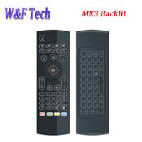 souris sans fil pour pc achat en gros de-MX3 Backlight Clavier sans fil avec IR Learning 2.4G Télécommande sans fil Fly Air Mouse rétro-éclairé pour MXQ PRO T95M X96 Android TV Box PC