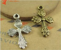Wholesale Brass Cross Charms - 17*26MM Antique Bronze cross charms for bracelet, religious dangle item silver crucifix pendant for necklace, handmade brass alloy charms
