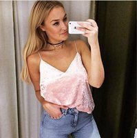 Wholesale Sexy Women Tees Sale - 2017 spring fashion sexy shirt collar V deep velvet tees crop tops cute camis plain color camisoles for women China wholesale clothing sale