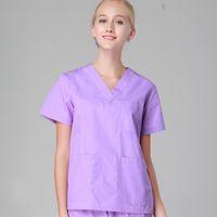 uniformes de enfermería al por mayor-Mujeres hombres hospital clínica médico ropa de trabajo conjunto de matorrales salón de belleza bata médica ropa médica uniforme de enfermera top + pantalones púrpura