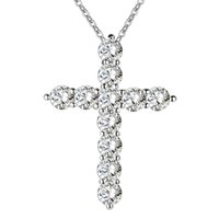 Wholesale silver plated necklace jewelry women wedding fashion Cross CZ crystal Zircon stone pendant necklace Christmas gift n296