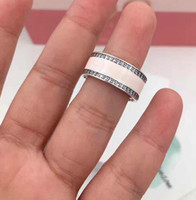 Wholesale Silver Square Bezel Ring - TopeasyJewelry new Ring Hearts Pink Enamel & Clear For Women 925 Sterling Silver Square Crystal Ring Wedding Engagement Fine Jewelry