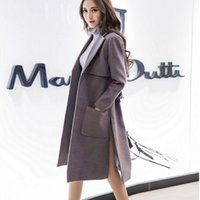 Wholesale Long Pure Cashmere Coat Women - 2017 New Autumn Winter Long Fashion Women Slim Pure Color lace-up Woolen Coat Cashmere Woolen Plus size