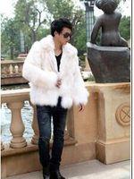 Wholesale Mens Black Leather Winter Overcoats - Brown white black jaqueta couro homem warm fur collar faux fox fur coat mens leather jacket men overcoat Villus autumn winter therm